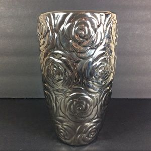 Floral Print Silver Tone Flower Vase